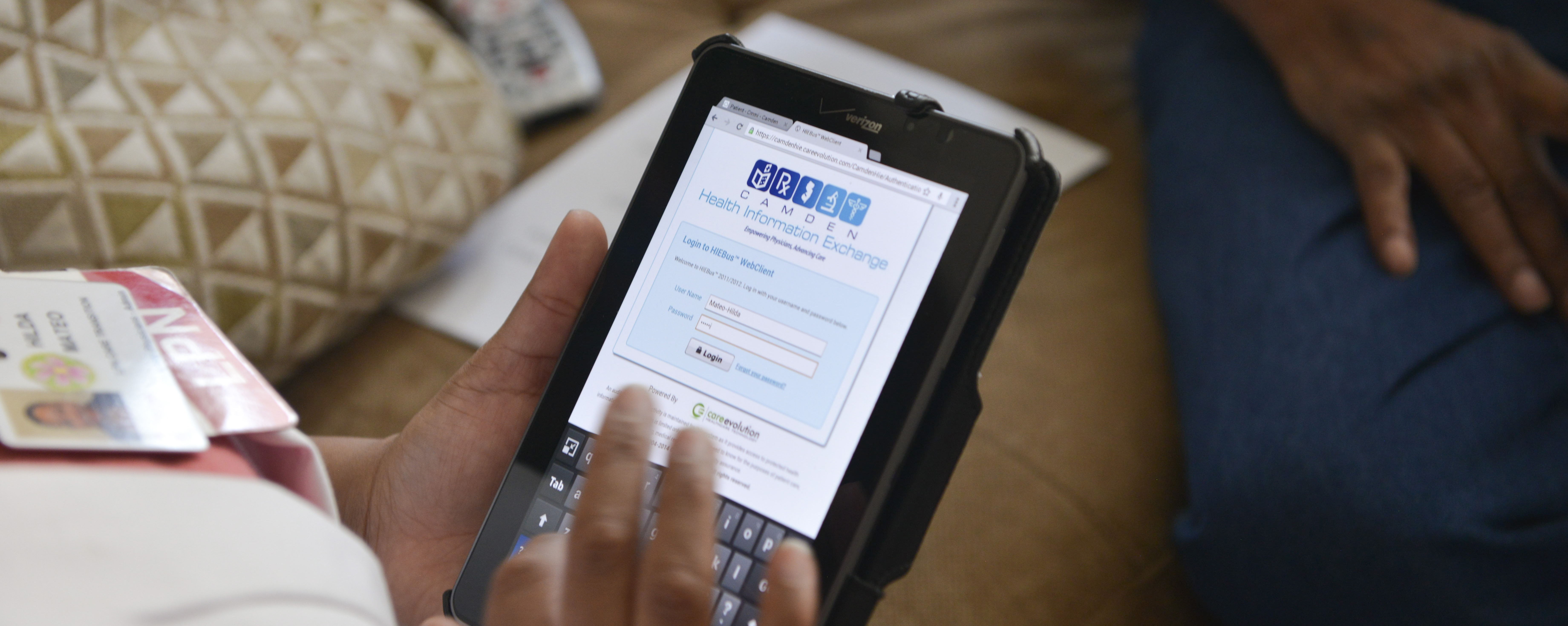 A Camden Coalition care team member demonstrates using our Health Information Exchange in the field