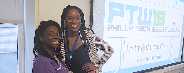 Adria Boultin with fellow panelist Sekinah Brodie at Philly Tech Week before speaking at panel