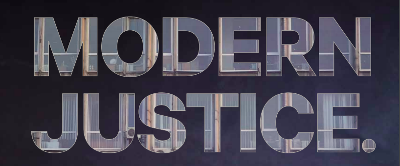 Screenshot of cover of the Modern Justice report, which shows title in all caps.