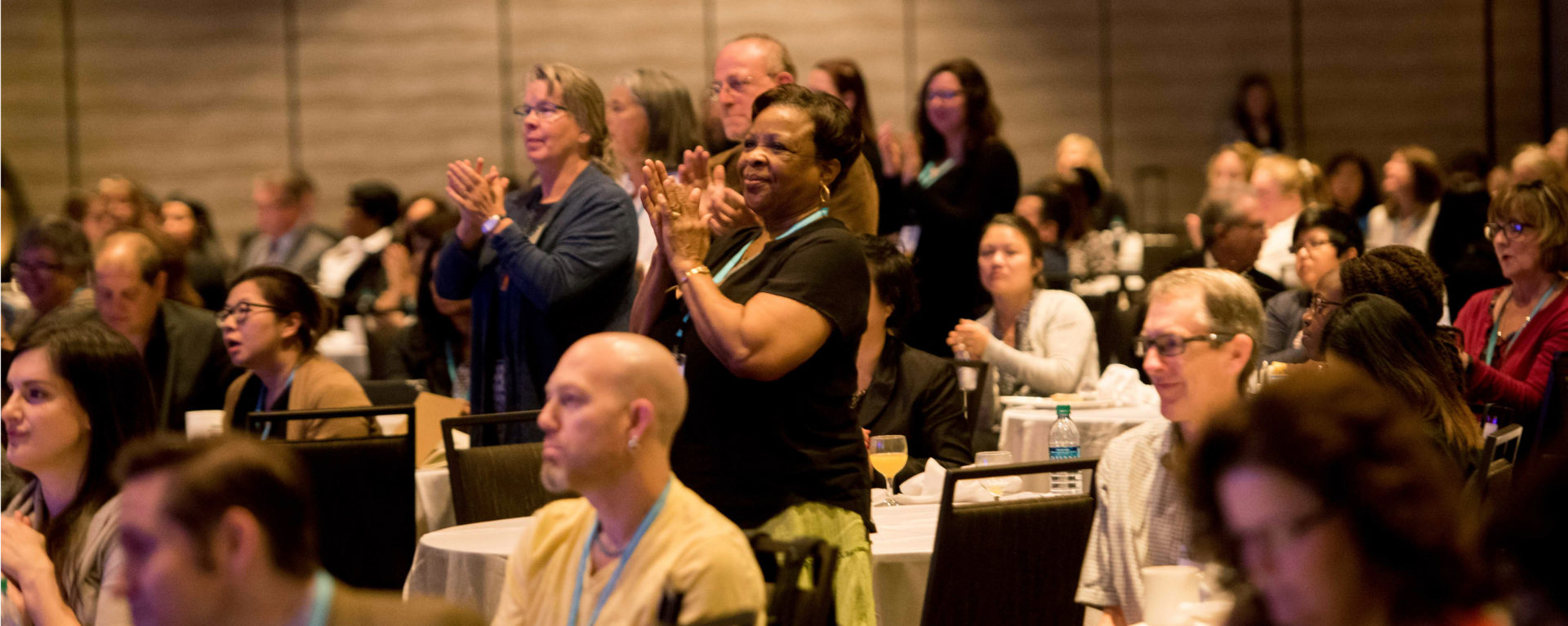 Attendees give a standing ovation at Putting Care at the Center 2017