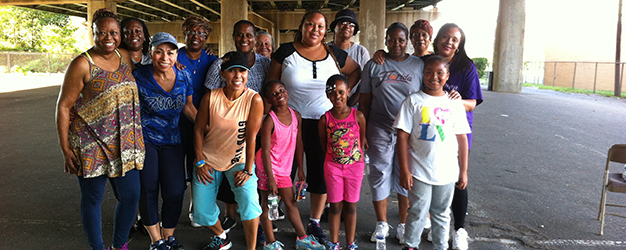 Faith in Prevention participants gather for a Zumba class