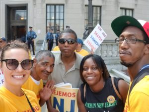 Camden Coalition patients and staff take selfie in front of Trenton State House at rally