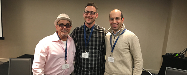 Consulting Attorney Jeremy Spiegel (right) smiles with Camden Coalition program graduate Charlie Vazquez (left) and Community Health Worker Brian Thompson at Putting Care at the Center 2018 conference