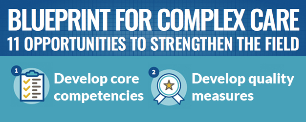 Blueprint for Complex Care - 11 Opportunities to strengthen the field. 1 develop core competencies 2. develop quality measures.
