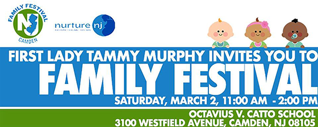 Blue and green graphic announcement of Family Festival with white lettering. Cartoon illustration of three babies with light, medium, and dark skin tones at upper right corner.