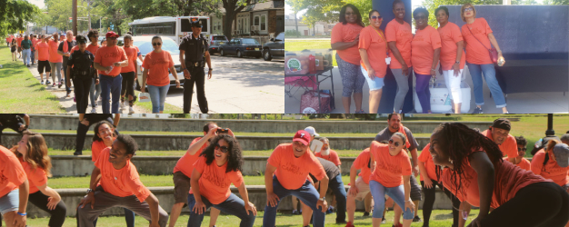Photo collage of Camden residents participating in I Walk Camden event with Mayor Frank Moran